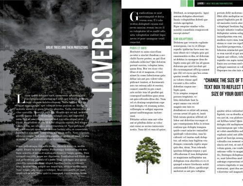 Dark Trees Magazine Layout – Free InDesign Template!